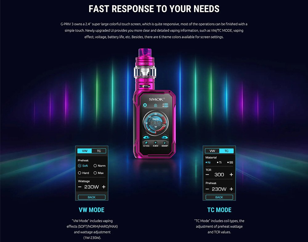 Smok G Priv 3 Kit UK Modes