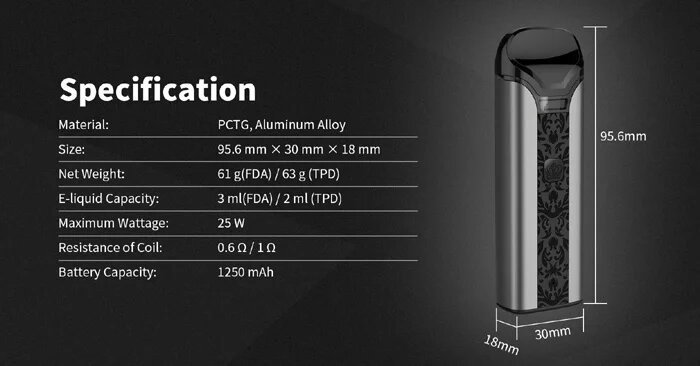 Uwell Crown Pod UK Specifications