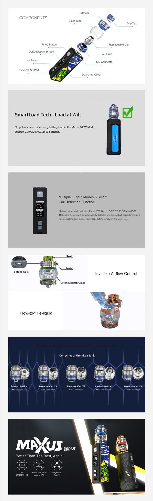 Freemax-Maxus-100W-TC-Kit-With-Fireluke-3-Tank-Features-UK