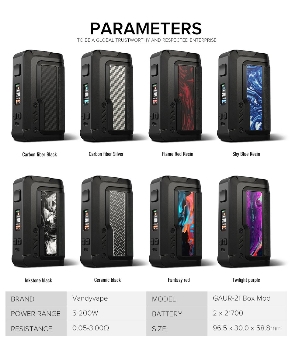VandyVape Gaur 21 UK parameters