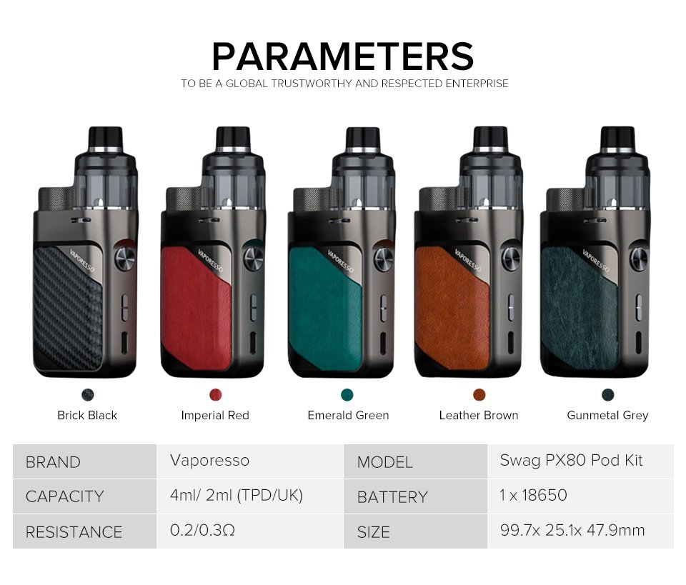 Vaporesso-Swag-PX80-Pod-Kit-UK Parameters
