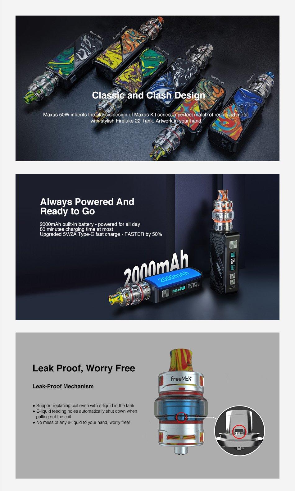 Freemax Maxus Kits 50W Features UK