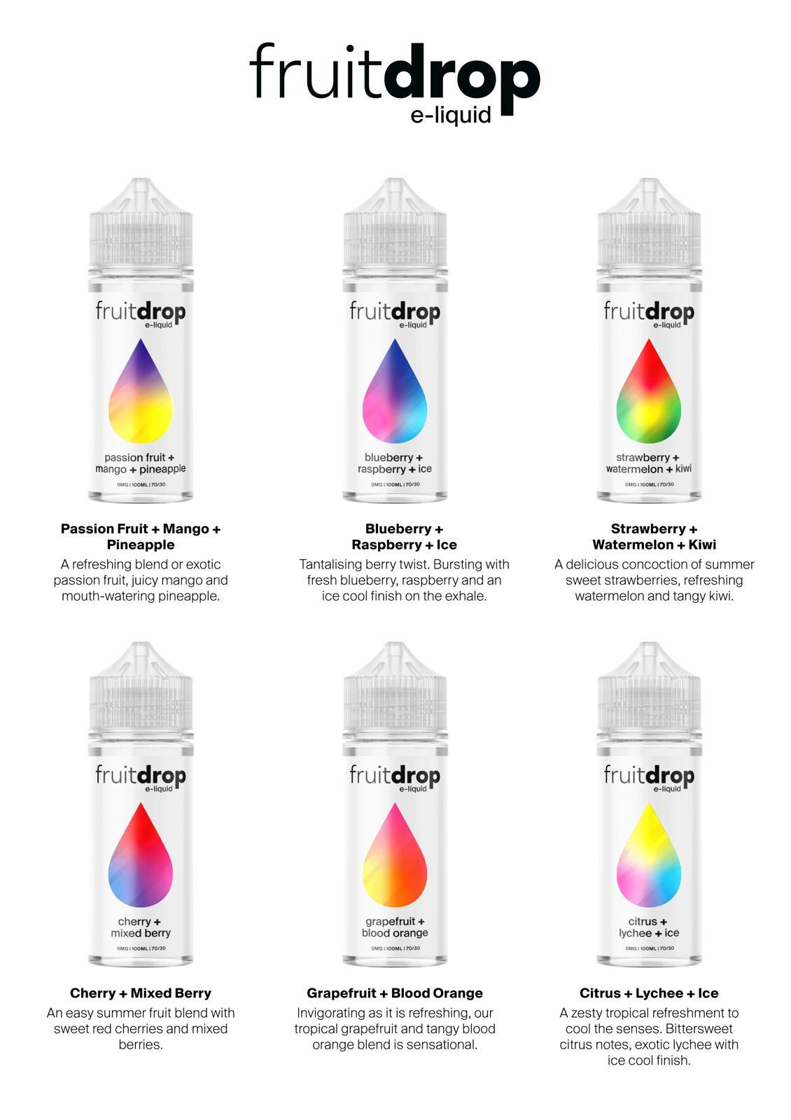 Flavour Card front Fruit Drop e liquid uk