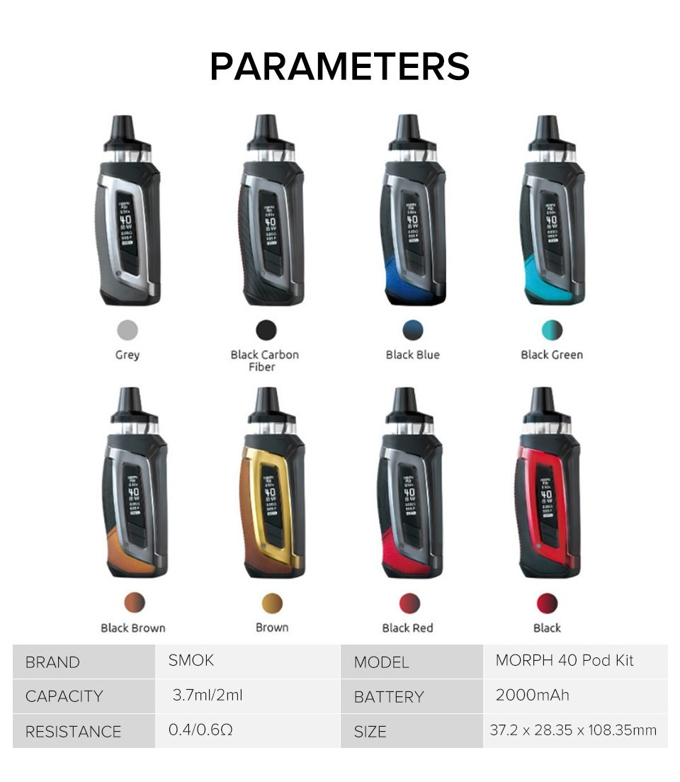 SMOK-MORPH-Pod-40-Kit-Parameters