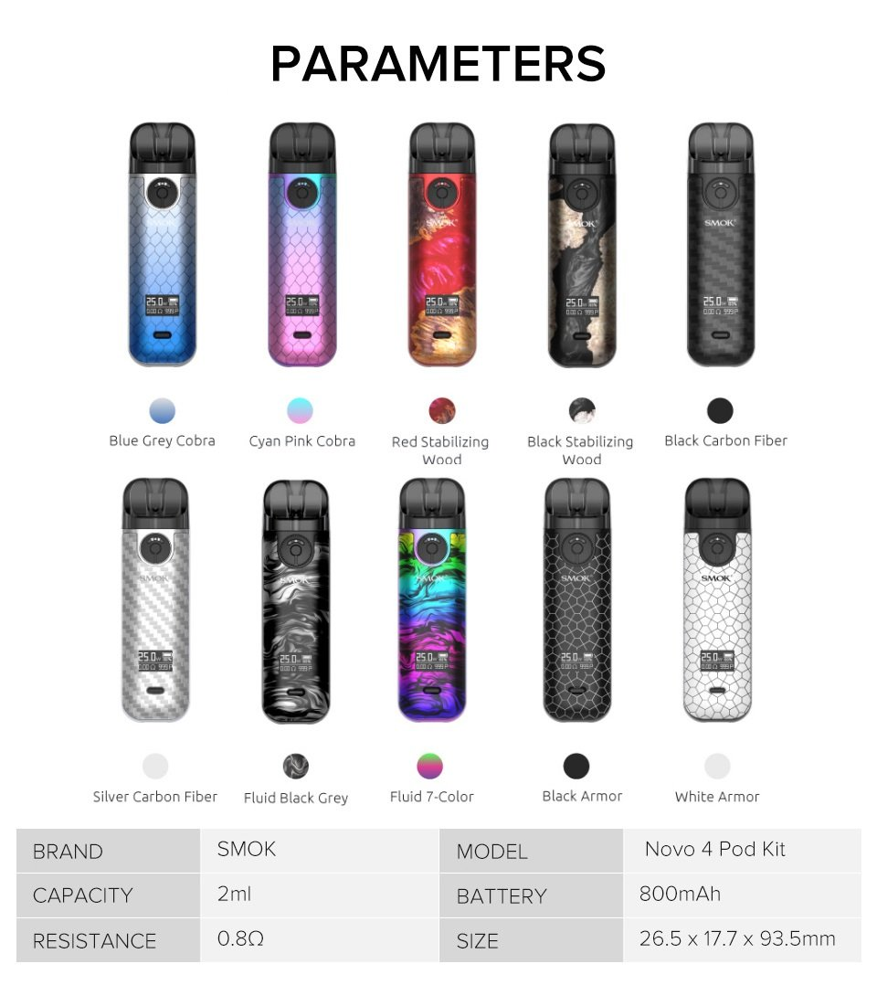 SMOK-Novo-4-Pod-Kit-Parameters