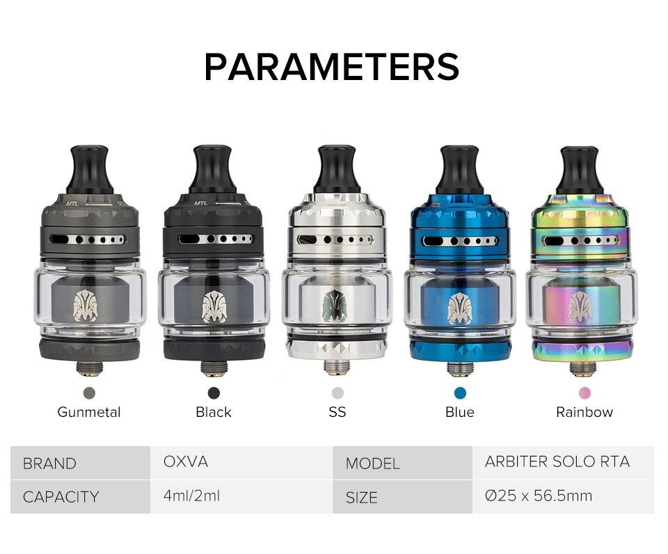 OXVA Arbiter Solo RTA Parameters UK