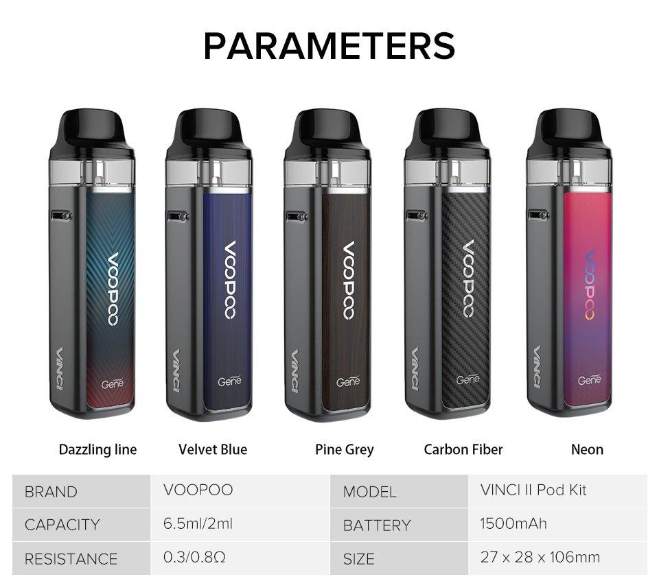 Voopoo Vinci 2 Pod Kit Parameters UK