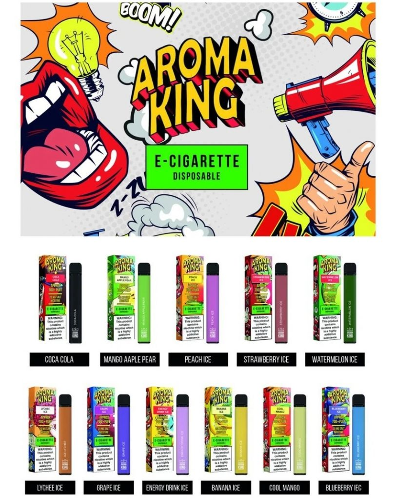Aroma King Disposable Vape Pod Promotional Image. Image displays the different flavours available, by placing the vape pod next to the box it comes in. The flavours are: Coca Cola, Mango Apple Pear, Peach Ice, Strawberry Ice, Watermelon Ice, Lychee Ice, Grape Ice, Energy Drink Ice, Banana Ice, Cool Mango and Blueberry Ice.