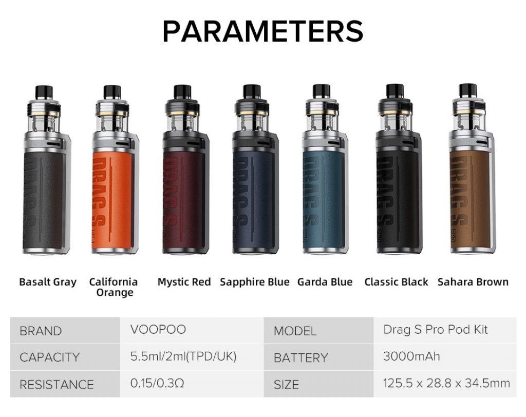 Voopoo Drag S Pro Kit Parameters UK